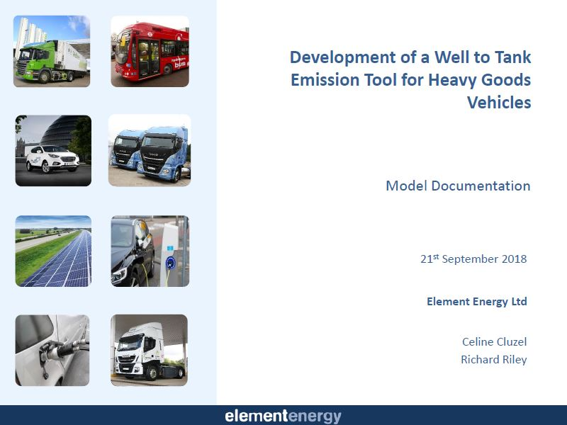 Element Energy Well-to-Wheel Emissions Model Cover